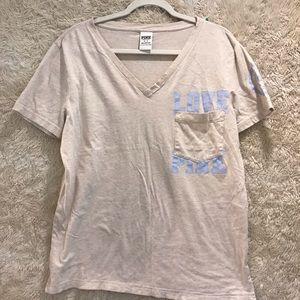 Pink by Victoria Secret V-neck T-shirt. Size M